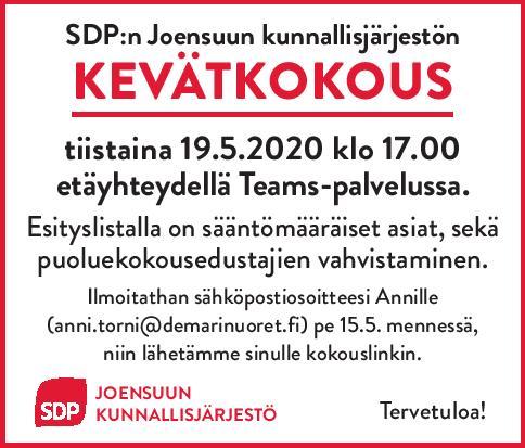 Kunnallisjärjestön kevätkokous 19.5.2020